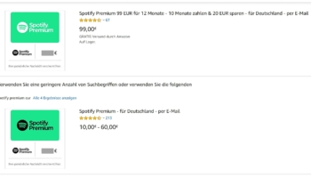 Amazon & Rewe Kartenwelt Spotify 12 Monate Premium Account für 99,99€